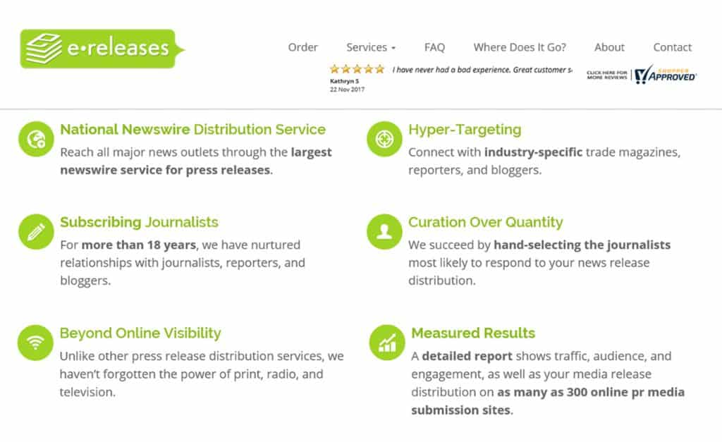 eReleases reviews PR Distribution Services Review